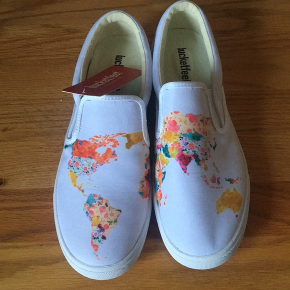 3993c82e7d46 Bucketfeet white world map slip on sneakers
